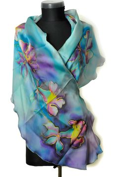 Hand painted silk chiffon scarf/Blue flowers/Painting by hand silk chiffon scarf/Exotic blue flowers/Long blue scarf/Luxury gift for woman