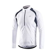 ARSUXEO Men s Half Zipper Cycling Jerseys Long Sleeves MTB Bike Shirts 6031  White Size Large   9cb27dc7d