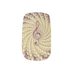 Gold Spiral Swirl and Pink Music Treble Clef Nails
