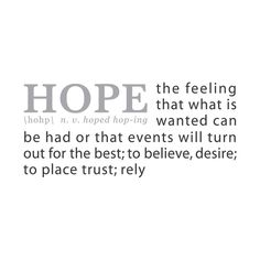 "Our HOPE: A Definition wall decal. Don't stop believin'. Couldn't we use a little more HOPE in this world? With this wall decal, you can find HOPE any time you want. You'll just need to look on your wall. 36""x15"" (91x38cm) Definition name in Stone / Definition text in Graphite"
