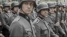 Fresh Waffen SS troops ready for the Eastern Front  on parade during departure ceremony.