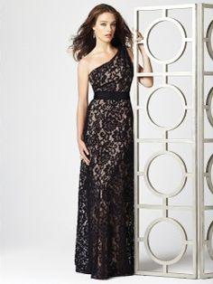 A-line One Shoulder Lace Black Floor-length Bridesmaid Dress(BM0100038)