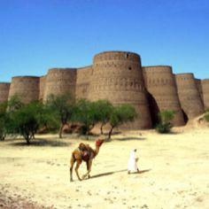 Derawar Fort (Qila Derawar) is built by Hindu Rajput Rai Jajja Bhati of Jaisalmer in the Cholistan desert of Bahawalpur Pakistan. Tour Around The World, Places Around The World, Oh The Places You'll Go, Around The Worlds, Pakistan Reisen, Pakistan Travel, Pakistan Zindabad, Famous Landmarks, Famous Places