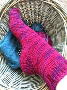 WW yarn sock. Easy to learn with.