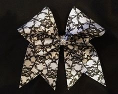 Black lace cheer bow with rhinestone center by HannahRoseCheerBows