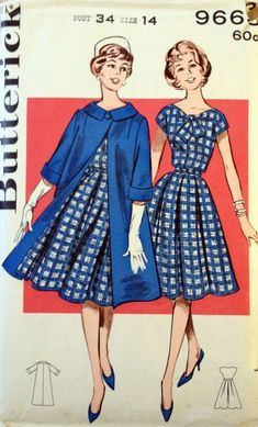 Butterick 9663 Vintage Sewing Pattern - Misses' Coat and Dress Ensemble Butterick ca Sz 32 Moda Vintage, Vintage Mode, Vintage Outfits, Vintage Dresses, 1950s Dresses, Vintage Dress Patterns, Clothing Patterns, Coat Patterns, 1950s Style