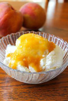 Homemade Ice Cream with Fresh Peach Sauce