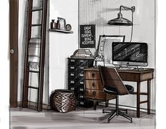 """Check out new work on my @Behance portfolio: """"Sketches of interior (2)""""…"""