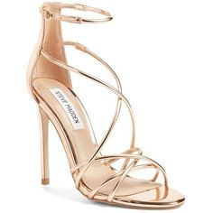 Women's Steve Madden Satire Strappy Sandal ($90) ❤ liked on Polyvore featuring shoes, sandals, rose gold, high heel stilettos, steve madden sandals, rose gold metallic shoes, strappy stiletto sandals and strappy shoes
