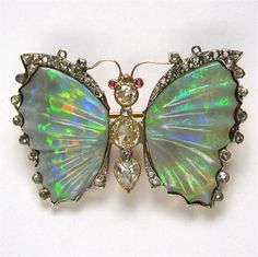 A late Victorian opal and diamond butterfly brooch - Bentley & Skinner