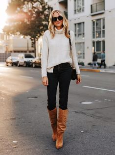 Fashion Jackson Wearing Abercrombie White Turtleneck Sweater Black Jeans Sam Edelman Tan Knee High B Brown Boots Outfit, White Sweater Outfit, Cute Sweater Outfits, Camel Boots, Winter Boots Outfits, Suede Boots, Outfit Winter, Winter Clothes, Leather Sandals
