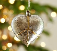 Peace Heart Glass Ornament Benefiting Give A Little Campaign   Pottery Barn