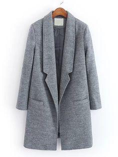 Notch Lapel Wool Blend Coat
