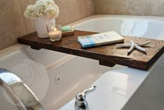 Except I can't DIY on this one, will need to buy one. Make a cheap and easy bathtub tray for wine + book baths. Wood Bathtub, Bathtub Tray, Bathtub Caddy, Diy Bathtub, Bath Tub, Bath Trays, Shower Trays, Bathtub Ideas, Shower Tub