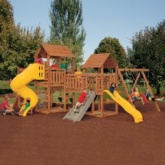 The Super Star Gold Playset by PlayStar® lets children's imagination run wild! Complete with two large towers and a swing set, this play deck has 26 different activities!