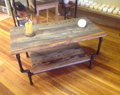 Industrial Iron Pipe Coffee Table w. Glass Top by WestHarlemDesign
