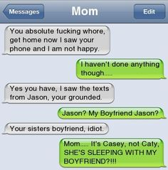 Funny Wrong Number Texts | just saw the texts from Jason - youre grounded