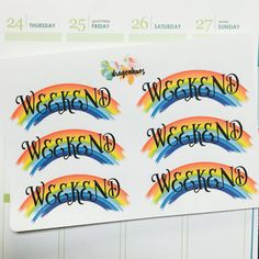 B60 Rainbow Weekend Banner Planner Stickers for Erin Condren, Day Designer, Filofax planners