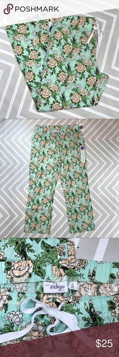 💥 Mint & Peach Rose Print Lounge Pajama Pants Woven cotton pajama pants with elastic waist and twill drawstring.  No trades. Great Northwest Indigo Intimates & Sleepwear Pajamas