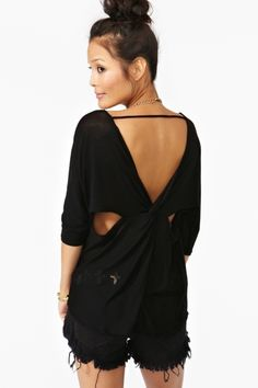 Twisted Cutout Top in Black