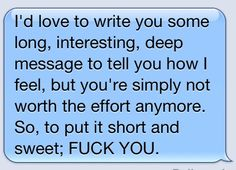 well said!  i only wish i had said this to the people who deserved it...  this is not usually me, but enough nice girl!!