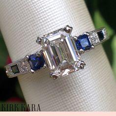 Blue sapphire engagement ring | Emerald cut engagement ring | Art Deco Engagement Ring | Detailed engagement ring | Hand engraved engagement ring | three stone ring | Kirk Kara | Charlotte collection Design No. K1383SD-R