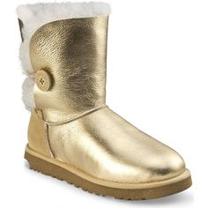 Metallic Gold Bailey Button UGGs Size 6 in kids, which is a size 8 in women's! In great condition UGG Shoes