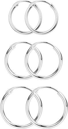Milacolato 3 Pairs 925 Sterling Silver Polished Endless Cartilage Hoop Earrings for Men Women Cartilage Hoop, Women's Earrings, Polish, Pairs, Sterling Silver, Bracelets, Gold, Jewelry, Vitreous Enamel