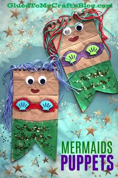 Paper Bag Mermaid Puppets - Kid Craft Idea for Summer Fun - Pretend Play Mermaid Art Project Not only is this Paper Bag Mermaid art project idea simply adorable but it's also completely customizable and perfect for some beach-themed puppet play Summer Crafts For Kids, Crafts For Kids To Make, Spring Crafts, Art For Kids, Summer Fun, Ocean Crafts For Teens, Craft Ideas For Girls, Daycare Crafts, Toddler Crafts