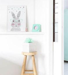 Poster mr. Rabbit. Leuk voor de #mintgroene babykamer. #nursery #baby #mintgroen