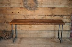 """Media stand computer desk - Free Shipping - Desk w/gas-pipe legs made from reclaimed wood - Lifetime Warranty - Desk 69"""" x 20"""" x 30""""h"""