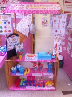 A super Ice-Cream Parlour Role-Play classroom area photo contribution. Great ideas for your classroom! Ice Cream Parlour Role Play, Ice Cream Theme, Dramatic Play Area, Dramatic Play Centers, School Displays, Classroom Displays, Play Based Learning, Learning Through Play, Kids Role Play