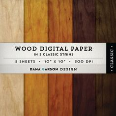 Wood Backgrounds Digital Paper, 5 wood textures for printing, scrapbooking, blog graphics, clipart ClipArt
