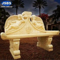 Stone Angel Outdoor Decor Bench www.jsbluesea.com info@jsbluesa.com whatsapp|wechat:0086-13633118189 #JSBS #stonebench #bench #benchdesign #outdoors #outdoordecor #outdoorfurniture Marble Columns, Stone Columns, Marble Fireplaces, Fireplace Mantels, Marble Carving, Chinese Valentine's Day, Stone Fountains, Stone Bench, Bench Designs