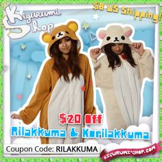 Save $20 on our Rilakkuma and Korilakkuma Kigurumi!  http://kigurumi-shop.com/special-sale.aspx  Great for Halloween, plus they're a super-cute way to stay warm and cozy all winter long. =^^=  Use coupon code RILAKKUMA during checkout. This offer is only good through Friday. Order now to avoid expedited shipping costs!