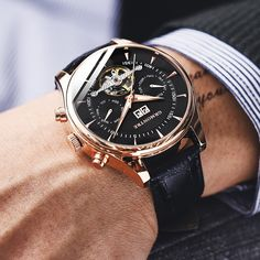 Buy Relogio Masculino Automatic Watches For Men Mechanical Skeleton Fashion Watch Black Clock erkek kol saati reloj hombre GRMONTRE at Wish - Shopping Made Fun High End Watches, Men's Watches, Cool Watches, Fashion Watches, Wrist Watches, Cheap Mens Watches, Men's Fashion, Woman Fashion, Silver Watches