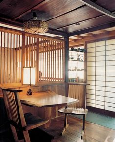 GEORGE NAKASHIMA, Interior from his private home and studio in New Hope, Pennsylvania (built 1947). All furniture by Nakashima, including Conoid chairs made of walnut and hickory. Photograph by Leslie...