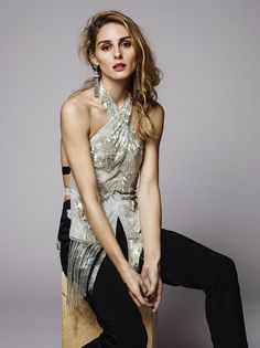 Olivia x BaubleBar Holiday Collection | Olivia Palermo - Marchesa top and trousers