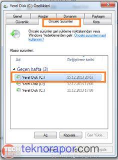 sistemkorumasi4 PC den Silinen Klasör ve Dosya Kurtarma