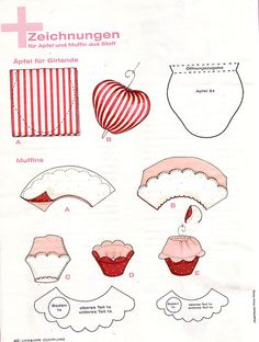 Scan of Drawings/Templates of the Tilda cup cakes and apples by Boxwoodcottage, via Flickr