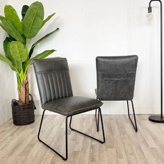 Luxury faux dining chairs with steel frame. Grey Faux Leather Dining Chairs and Tan Brown Faux Leather Dining Chairs come with Free UK Delivery. Dining Chairs Uk, Industrial Dining Chairs, Dining Table, Faux Leather Dining Chairs, Chair Fabric, Free Uk, Solid Oak, Steel Frame, Rattan
