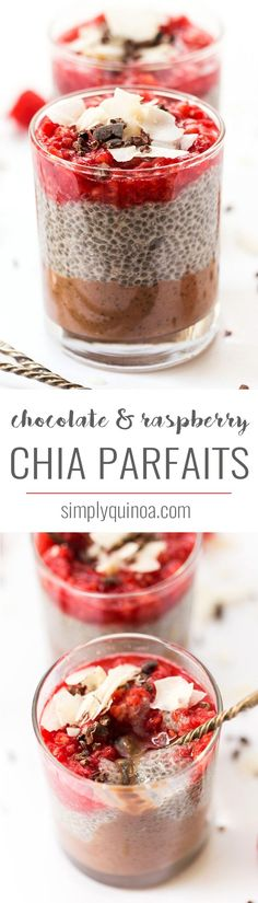 These HEALTHY chia parfaits start with a layer of banana chocolate mousse, then a layer of chia pudding and finished off with smashed raspberries on top! sponsored by @almondbreeze