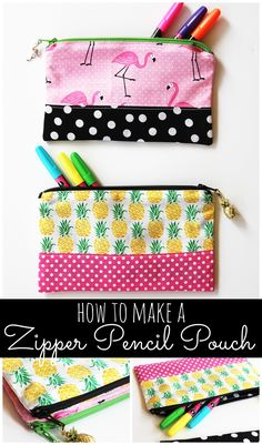 This zipper pencil pouch DIY sewing tutorial is so easy to follow. A great Back to School DIY pencil case to keep pencils, pens, markers, and more organized in style! MichaelsMakers Positively Splendid