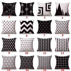 Roupa-De-Algodao-geometria-Branco-Preto-Capa-De-Almofada-Cama-Sofa-jogar-travesseiro-de-Decoracao
