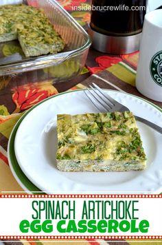 Spinach Artichoke Egg Casserole from http://www.insidebrucrewlife.com - a healthy breakfast choice of eggs and vegetables #eggs #breakfast