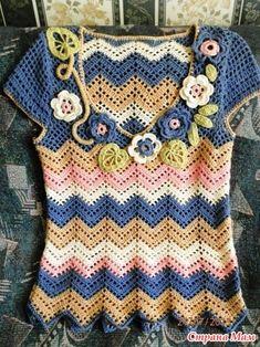 Топ зигзаг Crochet Cardigan Pattern, Crochet Shirt, Sweater Knitting Patterns, Crochet Summer Tops, Easy Crochet, Knit Crochet, Vintage Crochet Patterns, Crochet Woman, Crochet Fashion