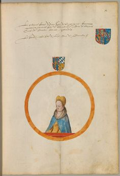 Coat of arms of Margaret of Bavaria, wife of John II, Duke of Burgundy. Chorographie Flanderns in Portraits der Landesfürsten, den Wappen des Adels und des Landes und in seiner Geographie Niederlande 1562