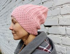 Pink slouchy beanie womens hat/Slouchy rose pink knit hat/Pink