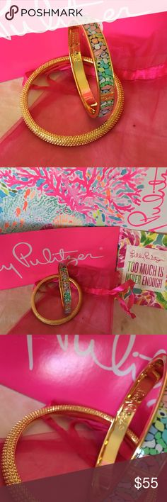 NWOT 💯% Auth Lilly Pulitzer bracelets NWOT 💯% Authentic Lilly Pulitzer set of 2 Bangle Bracelets. The first 1 has a gorgeous design that's so pretty & one of her best designs. This is a rare bracelet. The second one is gold with raised dots. They can be worn together or separate they look cute either way. Both bracelets are slip on & fit most wrists. I purchased them & never got around to wearing them. Time for my Posh girls to enjoy them. Comes with everything you see in the pics…