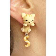 Grey Cat Clinging Ears - Orange Cat - Ideas of Orange Cat - Grey Cat Clinging Ears The post Grey Cat Clinging Ears appeared first on Cat Gig. Polymer Clay Cat, Polymer Clay Animals, Polymer Clay Charms, Polymer Clay Creations, Polymer Clay Earrings, Crea Fimo, Clay Cats, Cat Jewelry, Diy Clay